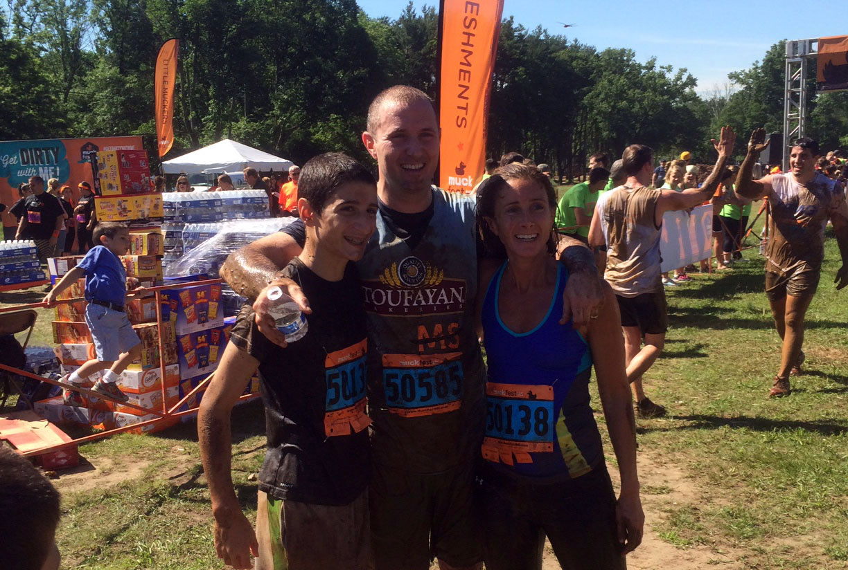 Greg, Greg and Karen Toufayan at Muckfest 2014